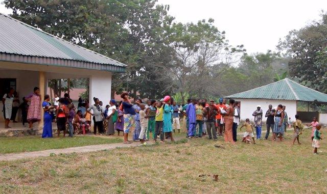 Refugiados cameruneses en la localidad nigeriana de Agbokim