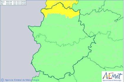 El norte de la provincia de Cáceres permanecerá el domingo en aviso amarillo por lluvias