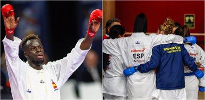 Babacar Seck y el equipo femenino de kumite, bronces para España en el Mundial