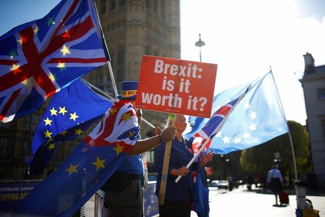 Manifestantes contra el Brexit junto al Parlamento británico