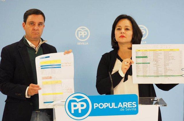 La presidenta del PP de Sevilla, Virginia Pérez, en rueda de prensa