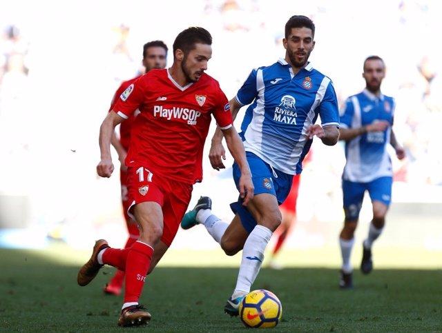 Pablo Sarabia en un Sevilla-Espanyol