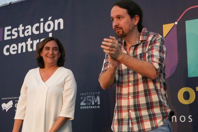 L'alcaldessa A.Colau i P.Iglesias en una imatge d'arxiu.