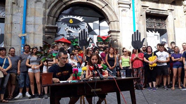 Foto de archivo de una rueda de prensa de la Asamblea del 'Gaztetxe Maravillas'