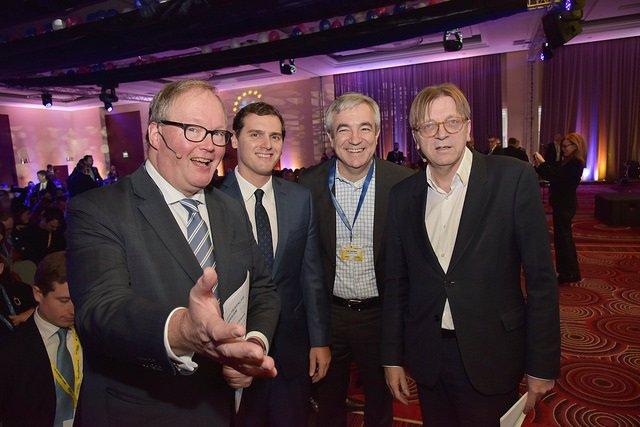 Hans van Baalen, Albert Rivera, Luis Garicano y Guy Verhofstadt