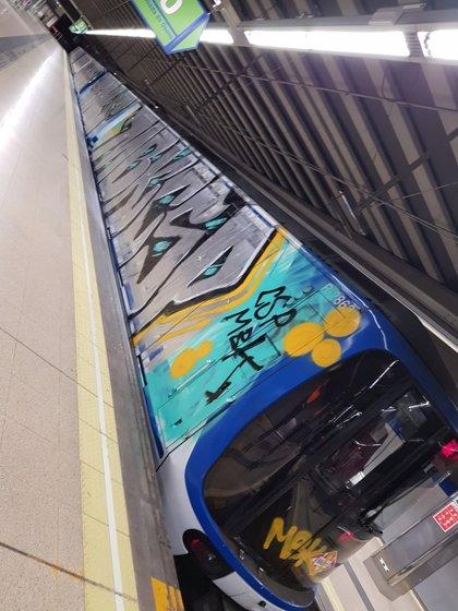 La ola de grafitis llega también a los Cercanías de Madrid, donde un grupo ha parado un tren entre Villalba y Galapagar
