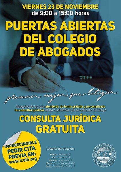 El Colegio de Abogados de Baleares abrirá sus puertas y ofrecerá consultas gratuitas el 23 de noviembre