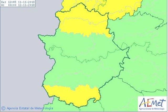 Alerta amarilla en Extremadura este domingo