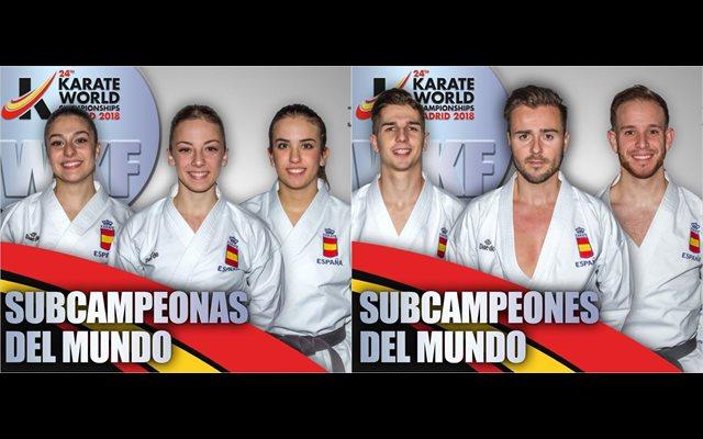 Los equipos masculino y femenino de katas se cuelgan la plata en el Mundial
