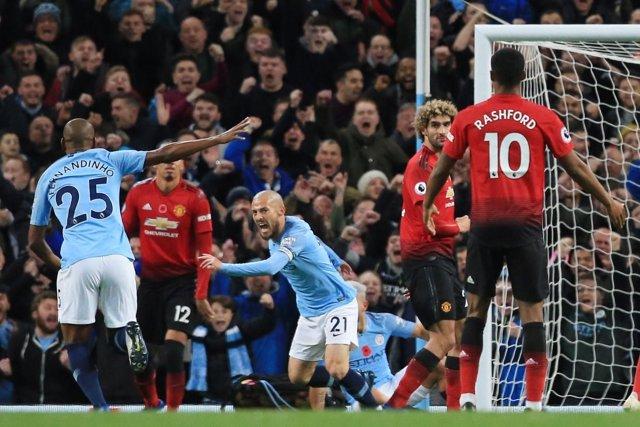 David Silva, del Manchester City, celebra un gol ante el United
