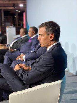 El presidente del Gobierno, Pedro Sánchez, participa en un foro en París