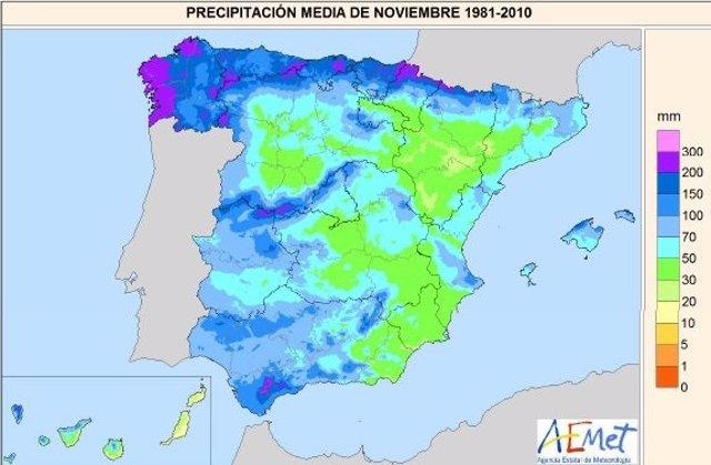 Mapa descriptivo de las precipitaciones caídas en CyL