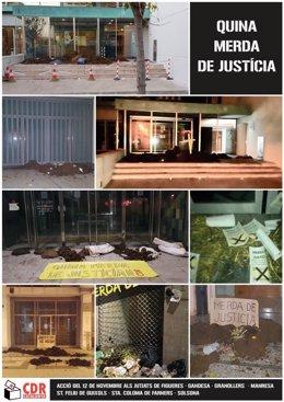 Acción de los CDR dejando excrementos en juzgados catalanes
