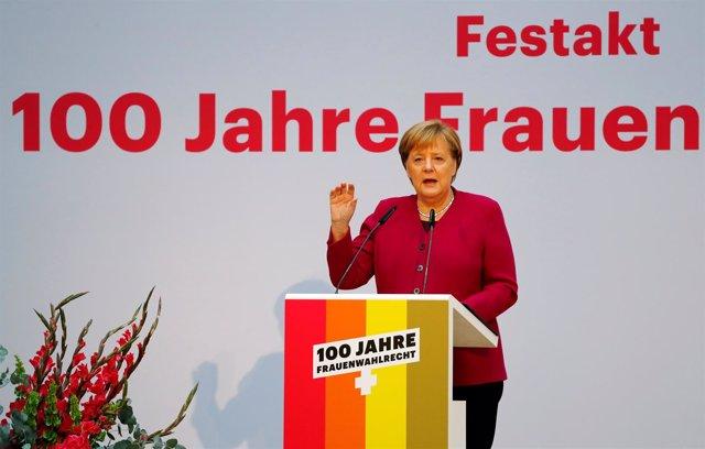 Angela Merkel, en un acto en Berlín