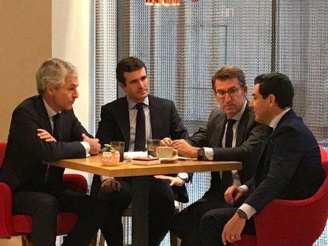 Pablo Casado, Juanma Moreno, Alberto Núñez Feijoó y Suarez Illana