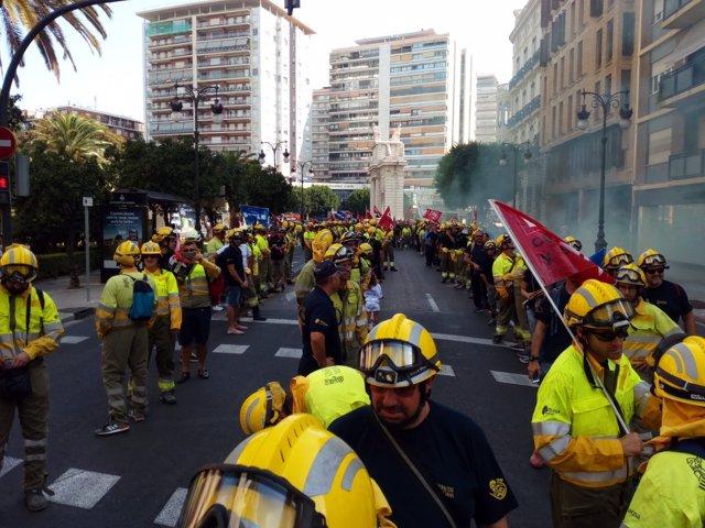 Imagen de una protesta de bomberos