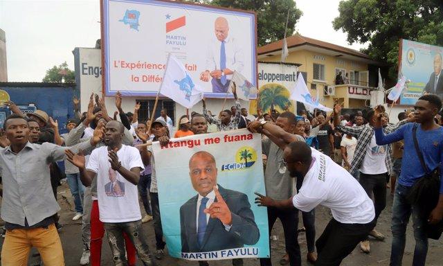 Manifestación a favor de Martin Fayulu en Kinshasa