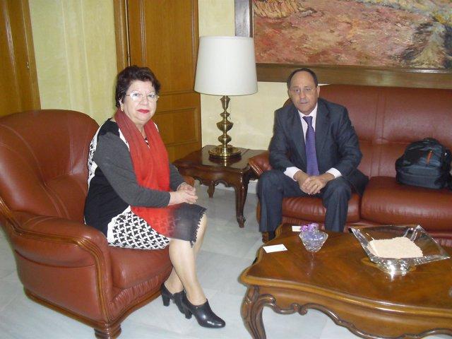 La delegada del Gobierno con el delegado territorial de REE