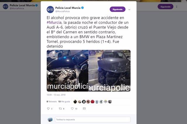 Imagen del tuit de la Policía Local, con el estado de los vehículos