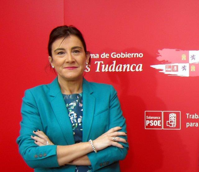 Ana Sánchez en la sede del PSOE de Salamanca.