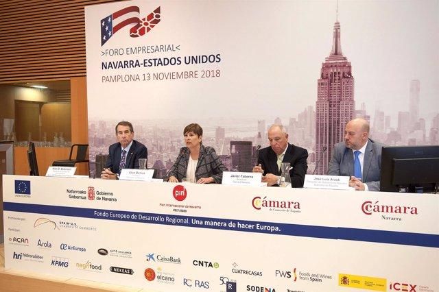 Uxue Barkos interviene en el Foro Empresarial Navarra-Estados Unidos.
