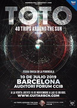 Cartel del concierto de Toto en Barcelona