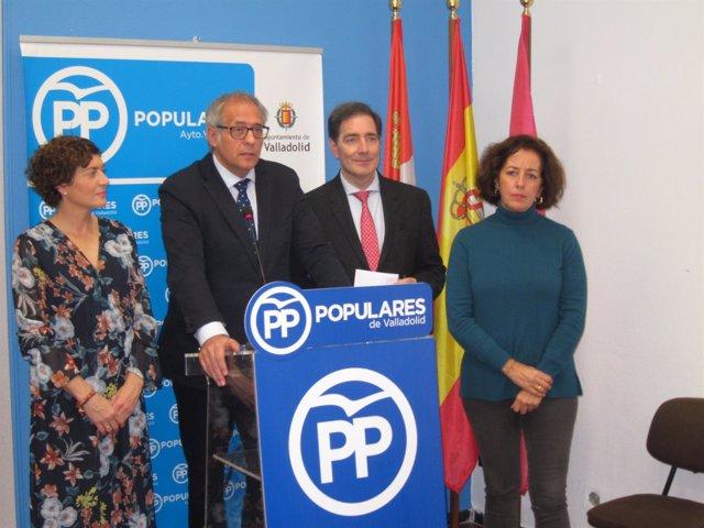 Concejales del PP en la rueda de prensa sobre el soterramiento. 13-11-18