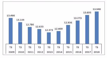 Palma registra un total de 13.946 empresas en el tercer trimestre de 2018 y representa el 32,6% del total de Baleares