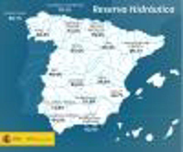 Mapa descriptivo de la reserva hidráulica en España