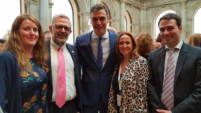 Mayte Pérez junto a Pedro Sánchez en el acto celebrado hoy en Madrid