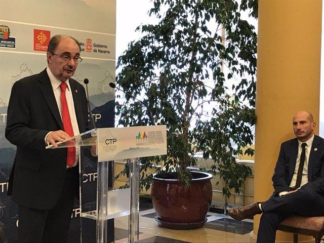 El presidente de Aragón, Javier Lambán, y Mathieu Bergé (Aquitania).