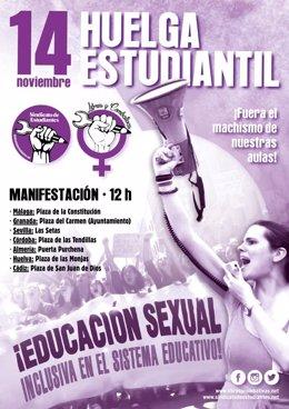 Cartel de la huelga estudiante contra el acoso en las aulas
