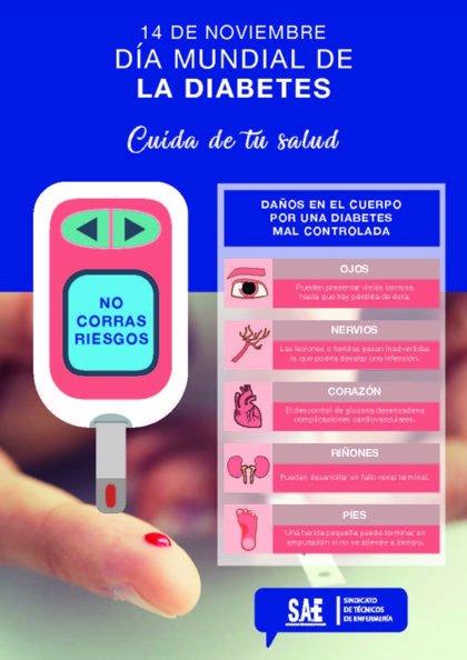 El Sindicato de Técnicos de Enfermería lanza un cartel para concienciar sobre los riesgos de la diabetes mal controlada