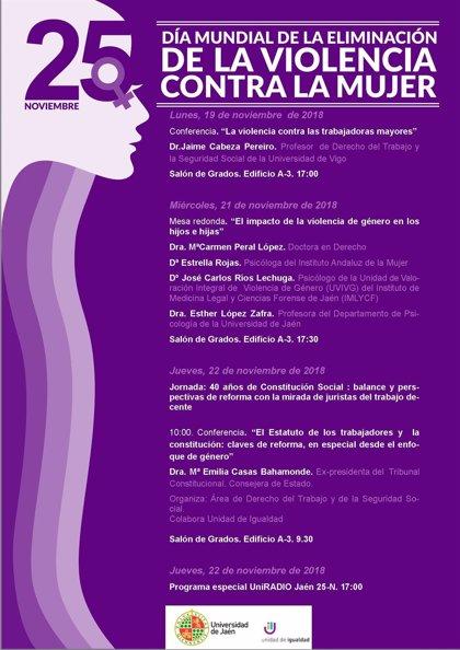 La Universidad de Jaén elabora una programación propia para conmemorar el Día Mundial contra violencia hacia la mujer