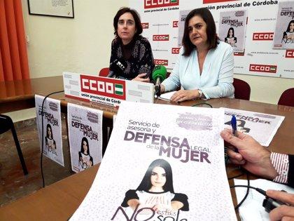 CCOO-Córdoba atiende más de 100 casos desde la reapertura en mayo del Servicio de Defensa Legal a Mujeres