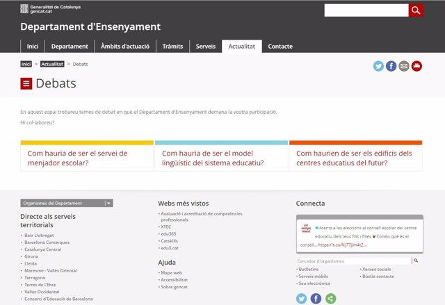 Espacio de participación online de la Conselleria de Enseñanza