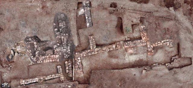 Vista aérea de las excavaciones de la antigua ciudad de Tenea, en Grecia