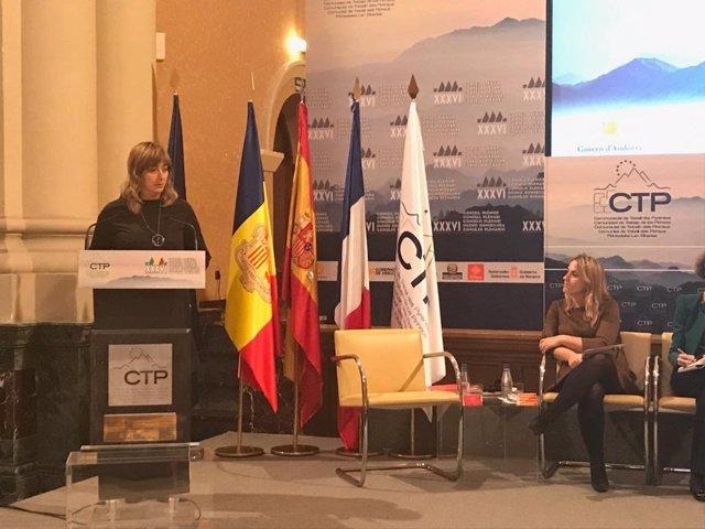La consejera Ana Ollo, en una reunión de la Comunidad de Trabajo de los Pirineos