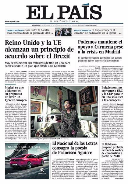 Las portadas de los periódicos del miércoles 14 de noviembre del 2018