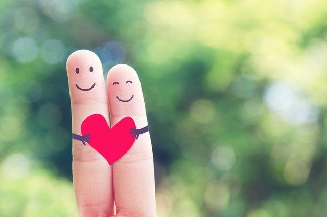 Amor, pareja feliz, corazón, enamorados