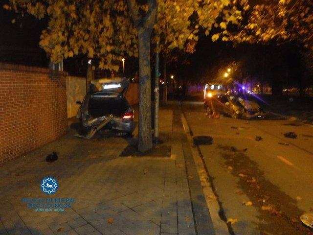 Accidente en la Vuelta del Castillo de Pamplona.