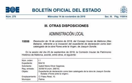 La Comisión Insular de Patrimonio Histórico de Mallorca acuerda la incoación de 'Bien Catalogado' de una obra de Sorolla