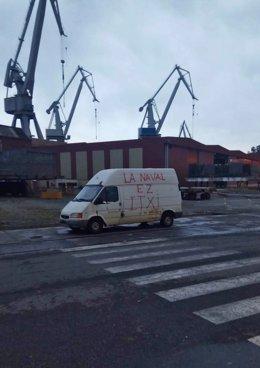 Manifestación en Sestao de los trabajadores de La Naval para reclamar a los Gobi