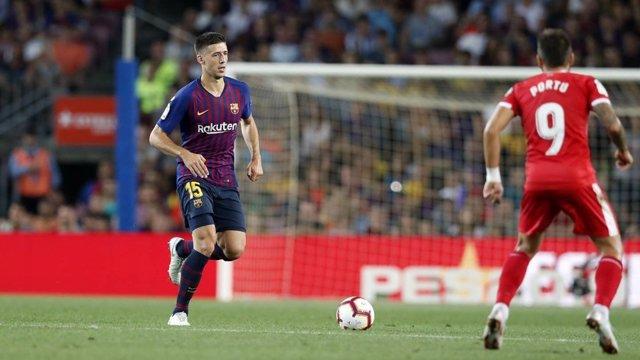 Lenglet durante el partido FC Barcelona-Girona