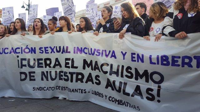"""Cientos de estudiantes se manifiestan en Madrid contra el """"machismo en las aulas"""