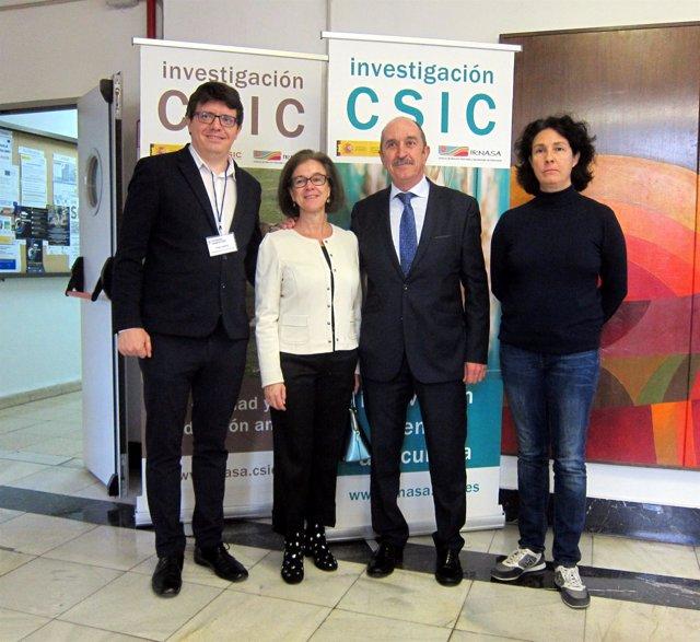 Representantes de Cecale, CSIC e Irnasa en la jornada.
