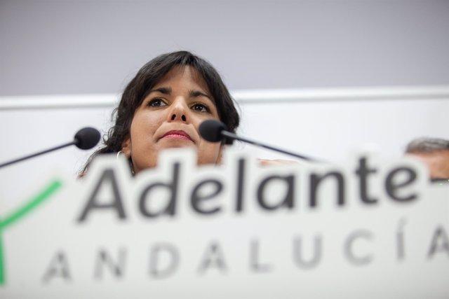 Teresa Rodríguez, candidata de Adelante Andalucía, en rueda de prensa