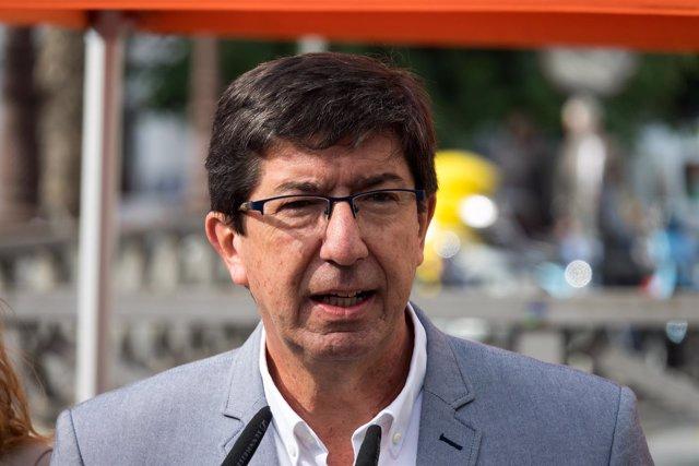 En Sevilla, el candidato de Ciudadanos (Cs) a la Presidencia de la Junta, Juan M