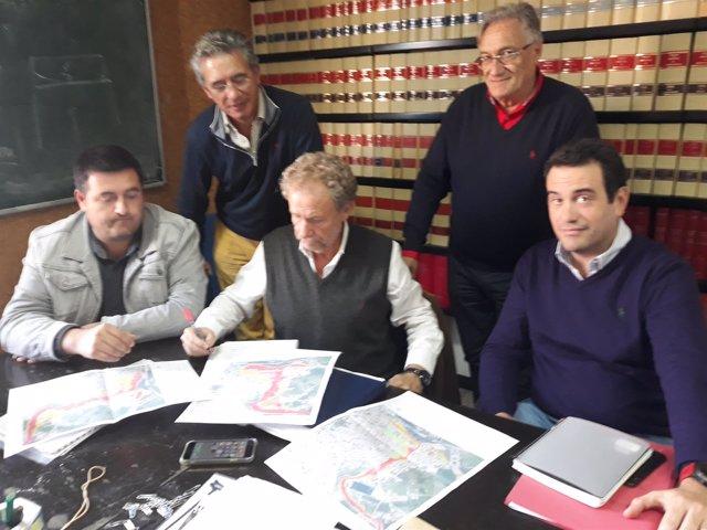 J.A.Esteban (decano Colegio Ingenieros), Puiggròs (S. Llorenç), Marco (UPV)