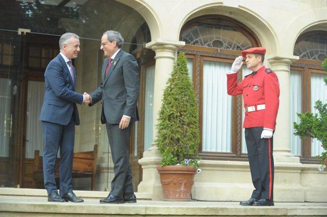 Iñigo Urkllu recibe a Quim Torra en el Palacio de Ajuria Enea en Vitoria